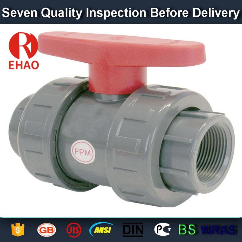 "1-1/2"" PVC True union slip X slip ball valve, T/T thread end sch 80 PVC"