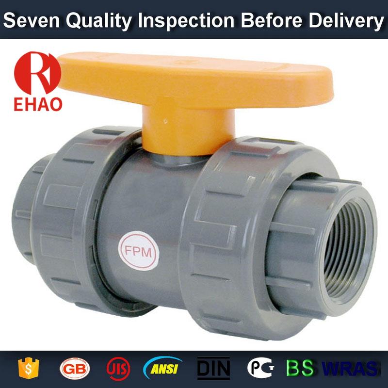"1-1/4"" PVC True union slip X slip ball valve, T/T thread end sch 80 PVC"