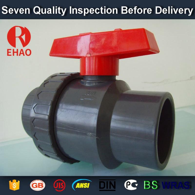 "4"" socket /thread + sokect  PVC single union ball valve, solvent end"