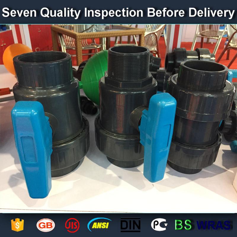 "3/4"" socket /thread + sokect  PVC single union ball valve, solvent end"