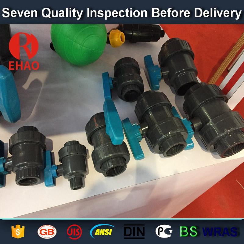 "2"" socket /thread + sokect  PVC single union ball valve, solvent end"