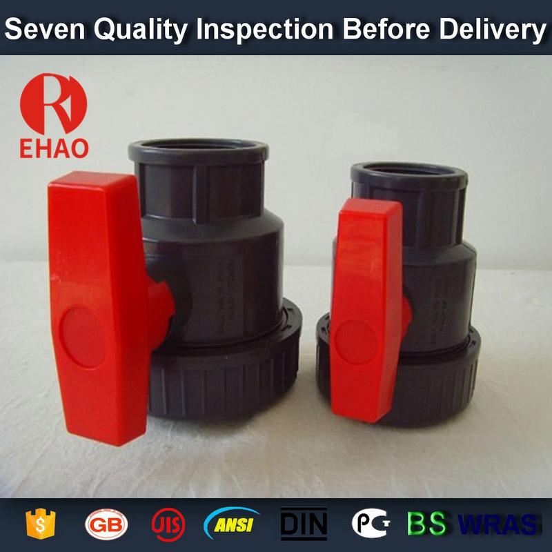 "3"" socket /thread + sokect  PVC single union ball valve, solvent end"