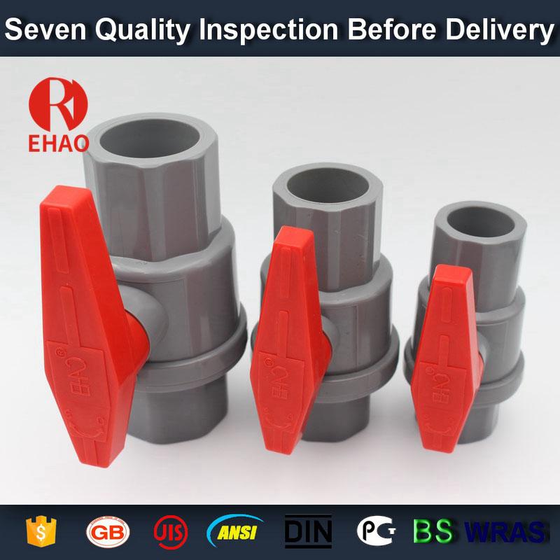 """1-1 / 2 """"(50 mm) aus Kunststoff PVC-PVC-2-teiligen Kugelhahn ABS hadle Buchse Schlupf x Schlupf Lösungsmittel, Gewinde x Gewinde Montage"""