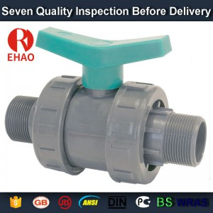 "4"" PVC True union slip X slip ball valve, T/T thread end sch 80 PVC"