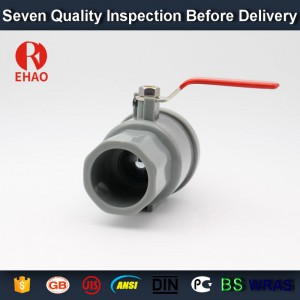 """1"""" (32mm) plastic pvc 2-piece ball valve  with stainless steel handle socket slip x slip, solvent end"""