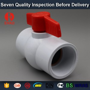 "1-1/4"" PVC round compact ball valve thread ends manufacture in china"