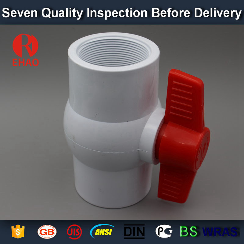 "1-1/2"" PVC round compact ball valve thread ends taiwan"