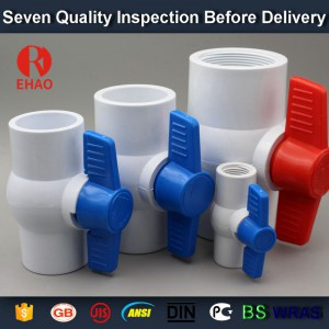 "2"" PVC round compact ball valve thread ends ,plastic ball valve manufacture"