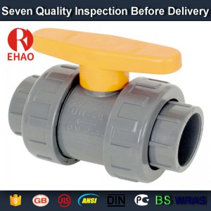 "2"" PVC True union slip X slip ball valve, T/T thread end sch 80 PVC"
