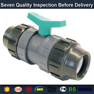 "1"" PVC True union slip X slip ball valve, T/T thread end sch 80 PVC"