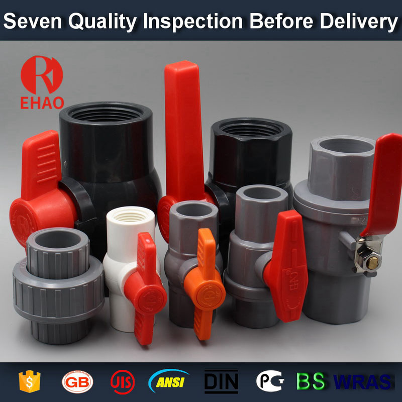 "2-1/2"" PVC round compact ball valve thread ends factory"