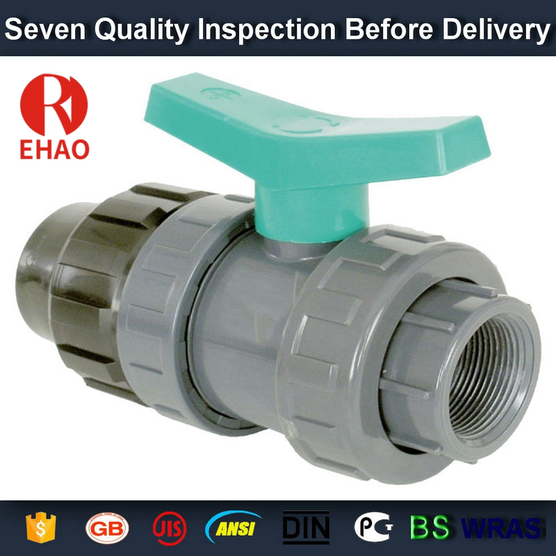 "2-1/2"" PVC True union slip X slip ball valve, T/T thread end sch 80 PVC"