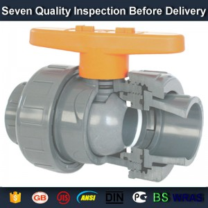 "3/4"" PVC True union slip X slip ball valve, T/T thread end sch 80 PVC"