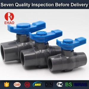 "3/4""(25mm)  PVC round compact ball valve solvent socket, shc. 40 slip x slip"