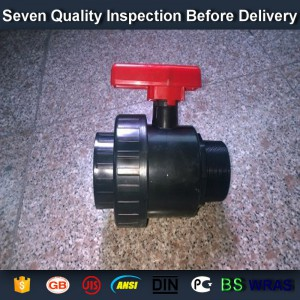 "1-1/2"" socket /thread + sokect  PVC single union ball valve, solvent end"