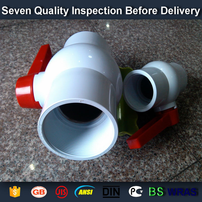 """3/4"""" PVC round compact ball valve thread FPT x FPT schedule 40 pvc"""