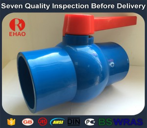 "1-1/2""(50mm)   round compact PVC ball valve solvent socket , Plastic ball valve"