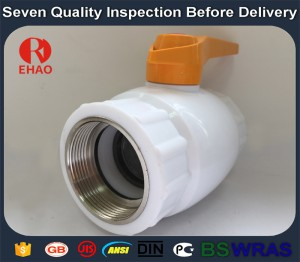 "1-1/2"" Plastic PPR ball valve metal thread FPT x FPT"