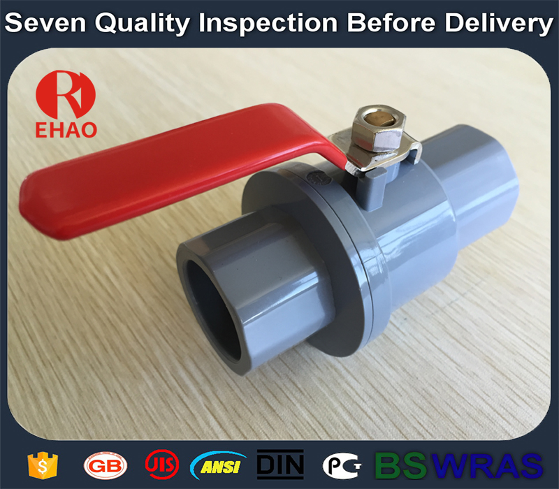 """factory low price 1/2"""" plastic pvc 2-piece ball valve  with stainless steel handle socket slip x slip Supply to Gabon"""